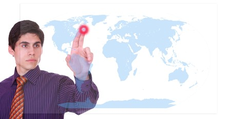 businessman touching a on a world map virtual screen , global choice concept   photo