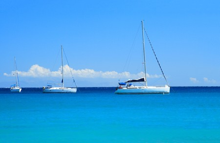 Sailing yachts in the Aegean sea Stock Photo