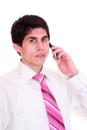 man with phone over white background photo