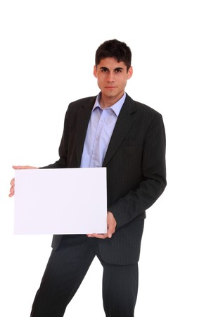 Handsome Businessman holding a blank sign in front of him  photo