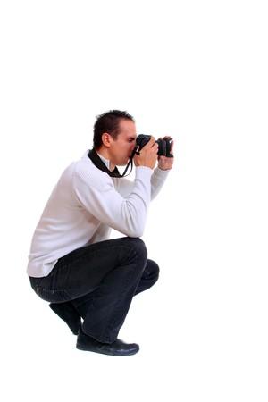 Porträt von männlichen Fotograf mit Camera isolated on white background