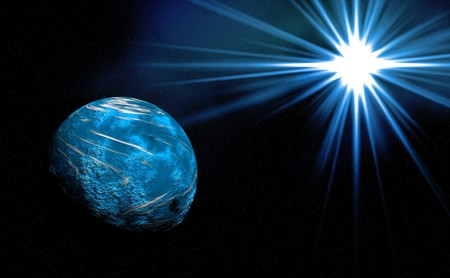 Beautiful planet with  Rising Sun photo