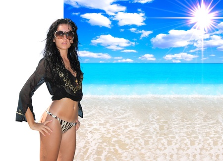 idealistic: Beautiful woman with idealistic beach landscape - girl easy to cut her out - perfect for travel agencies