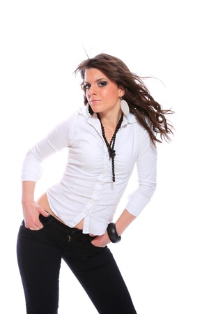 chearful: smiling young woman wearing a white shirt, studioshot over white background