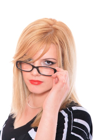 business woman wearing glasses isolated over white background photo