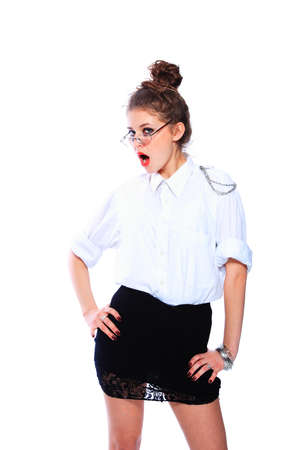 bussines people: business woman wearing glasses isolated over white background Stock Photo