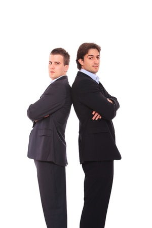 two face: two business men portrait, isolated on white Stock Photo