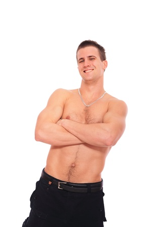 Shirtless Man in Jeans over white background Stock Photo - 9114798