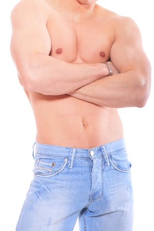 nipple man: Muscular male torso isolated on white Stock Photo
