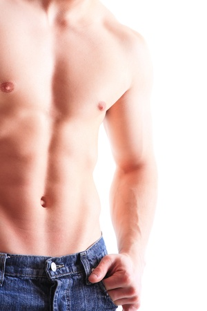 Muscular male torso isolated on white Stock Photo - 15105626