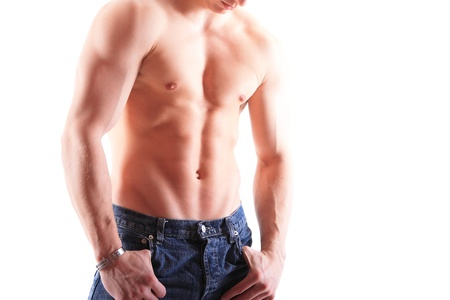 Muscular male torso isolated on white photo