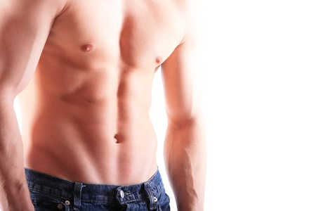 Muscular male torso isolated on white Stock Photo - 15105597