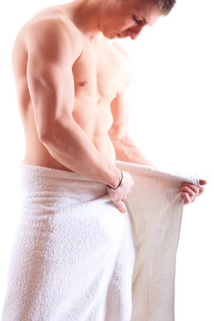 Handsome muscular man in towel  Stock Photo - 15105595