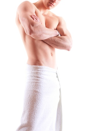 Handsome muscular man in towel  photo