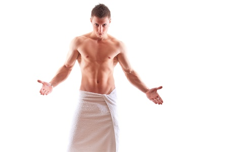 Handsome muscular man in towel Stock Photo - 15105546