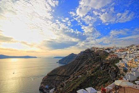 Santorini island sunset Fira - Greece background Stock Photo - 9662391