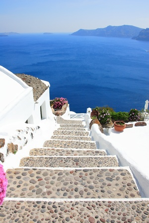 hotel balcony: Gate to the sea - Santorini island