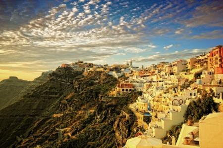 view of Fira town - Santorini  Greece