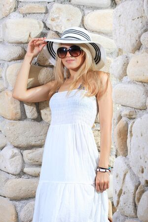 Woman in hat and white dress Stock Photo - 10913981