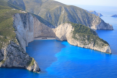 ionian: Aerial view on the Ionian island of Zakynthos Greece - The  famous Navagio shipwreck beach