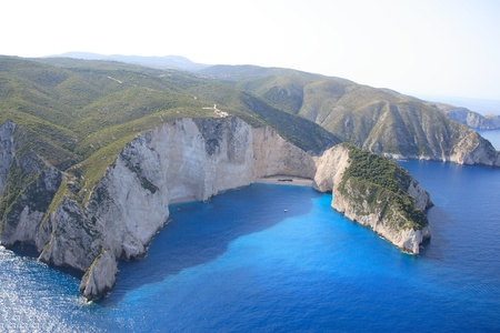 ionian island: Aerial view on the Ionian island of Zakynthos Greece - The  famous Navagio shipwreck beach
