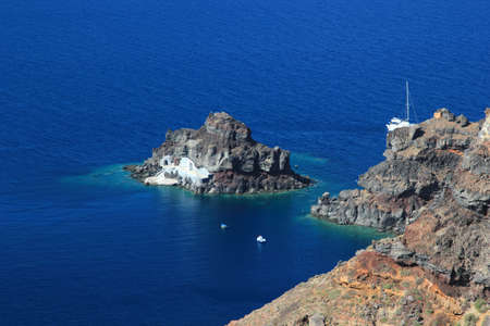 Overview on Oia on the island of Santorini in Greece photo