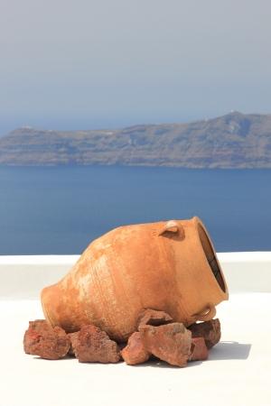 Traditional Greek vase on Santorini island, Greece Stock Photo - 13680210