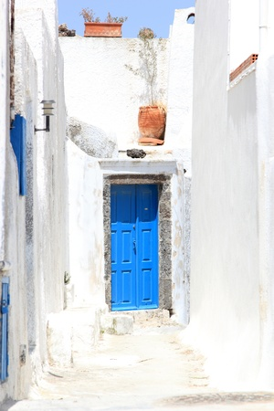 Street on the island of Santorini in Greece photo