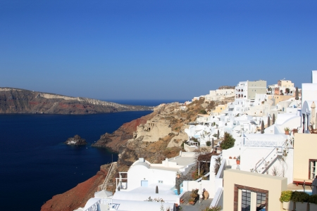 kyklades: Village of Oia at Santorini island in the Cyclades, aegean sea, Greece Stock Photo