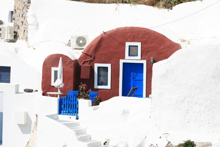 Street on the island of Santorini in Greece photo