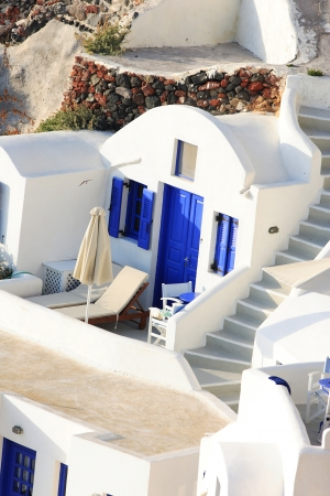 Classical Greek architecture of the streets in the Cyclades Greece
