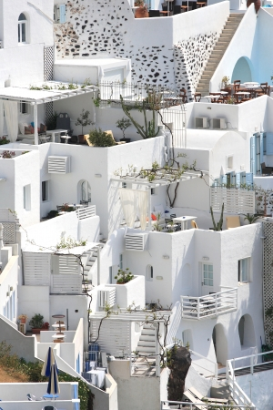 Classical Greek architecture of the streets in the Cyclades Greece Standard-Bild
