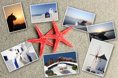 set of summer photos of Santorini Greece photo