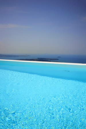 Swimming pool at Santorini island Greece Stock Photo - 15509912