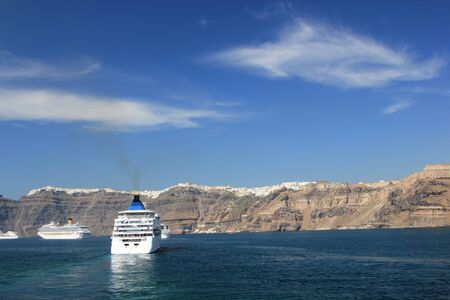 Cruise ship in Santorini Greece - travel background photo