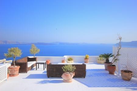 View on caldera and sea from balcony, Santorini, Greece Stock Photo - 15163597