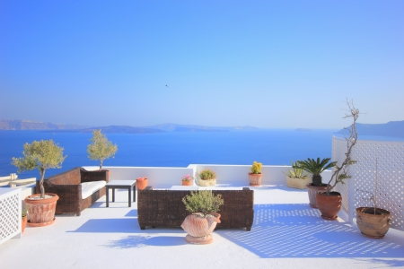 balcony: View on caldera and sea from balcony, Santorini, Greece
