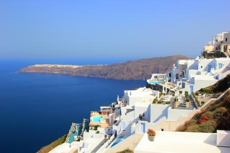 kyklades: Village of firostefani at Santorini island in the Cyclades, aegean sea, Greece Stock Photo