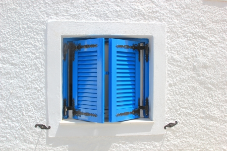 Traditional window in Santorini, Greece photo