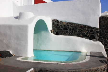 Swimming pool at Santorini island Greece Stock Photo - 15509956