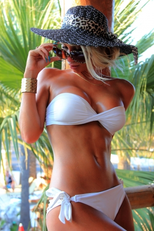 sexy abs: Young and sexy bikini model in tropical environment Stock Photo