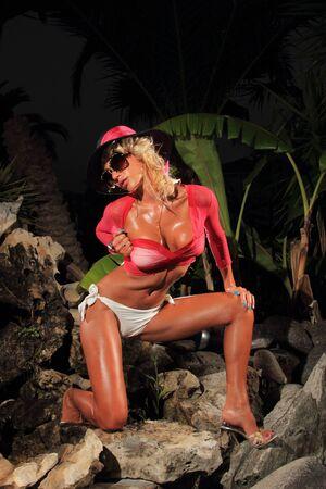 Woman wearing a bikini posing in the summer time by the rocks Stock Photo - 16591284