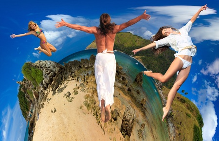 Group of young people on Exotic Bay in Phuket island Thailand Travel concept