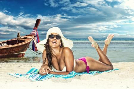 woman beach: Beautiful woman on the beach. Thailand.