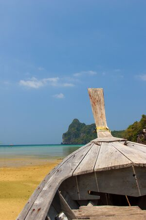 Beautiful bay of Koh Phi Phi island with long tailed boat Thailand photo