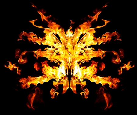 Devil's fire mask over black background Stock Photo - 18507621