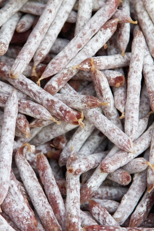 air dried salami: bunch of Mini salami