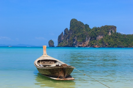 long tailed boat: Long tailed boat Ruea Hang Yao in Phi Phi island Thailand Stock Photo
