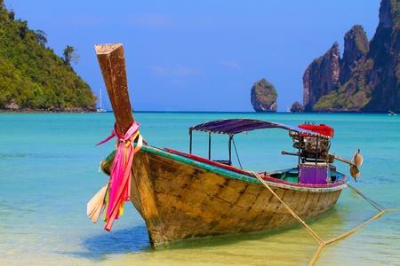 phi phi island: Long tailed boat Ruea Hang Yao in Phi Phi island Thailand Stock Photo