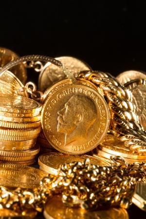 tresure: George V gold coins - Selective focus